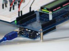 Close Up of the Arduino Proto Shield Plus with UNO board