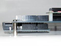 Side view of the Arduino Proto Shield Plus with UNO board